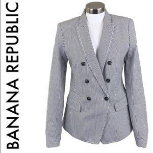 BANANA REPUBLIC  WHITE SEERSUCKER BLAZER TALL 4